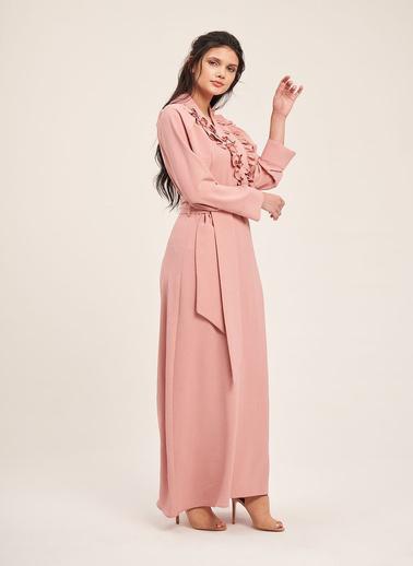 Mizalle Kruvaze Önü Fırfırlı Elbise Pudra